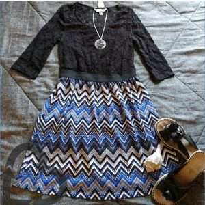 Speechless 3/4 Sleeve Lace Body/Print Dress